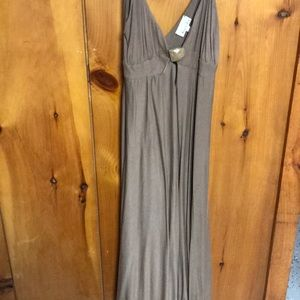 Miguelina taupe flowy dress with rock